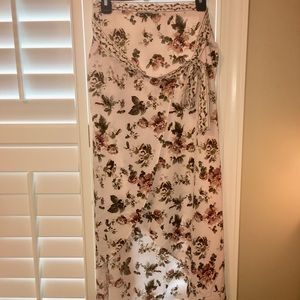 Pale Pink Floral Wrap-Around Skirt!